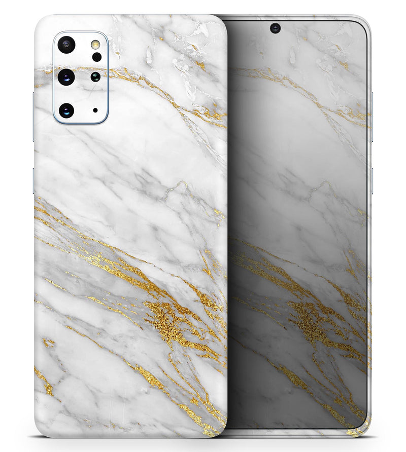 Marble & Digital Gold Foil V4 2 - Skin-Kit for the Samsung Galaxy S-Series S20, S20 Plus, S20 Ultra , S10 & others (All Galaxy Devices Available)