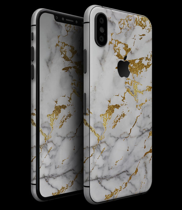 Marble & Digital Gold Foil V5 - iPhone XS MAX, XS/X, 8/8+, 7/7+, 5/5S/SE Skin-Kit (All iPhones Available)