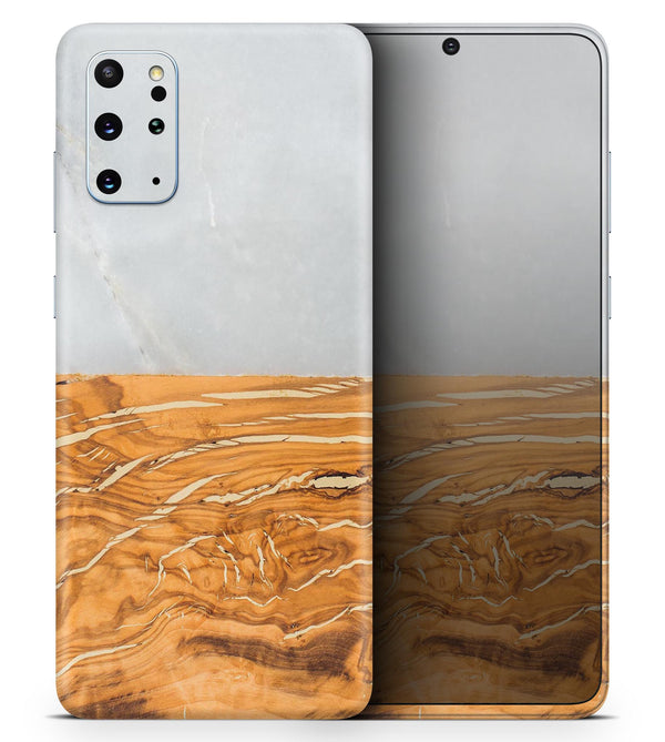 Marble & Wood Mix V1 2 - Skin-Kit for the Samsung Galaxy S-Series S20, S20 Plus, S20 Ultra , S10 & others (All Galaxy Devices Available)