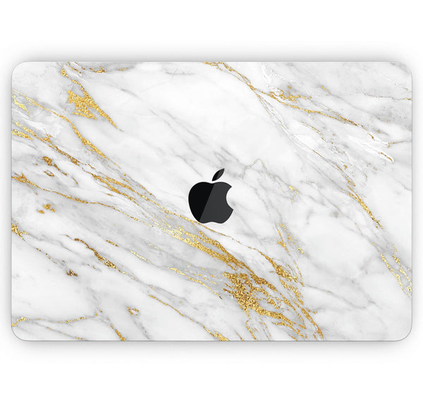 "Marble & Digital Gold Foil V4 - Skin Decal Wrap Kit Compatible with the Apple MacBook Pro, Pro with Touch Bar or Air (11"", 12"", 13"", 15"" & 16"" - All Versions Available)"