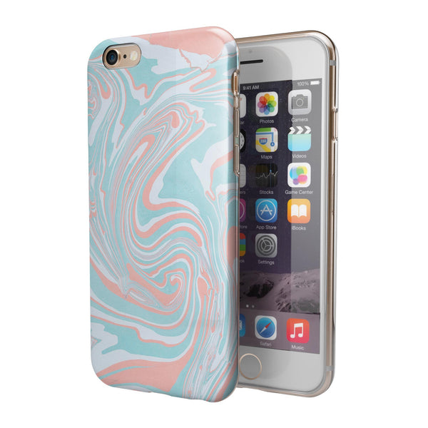 Marbleized Mint and Coral iPhone 6/6s or 6/6s Plus 2-Piece Hybrid INK-Fuzed Case