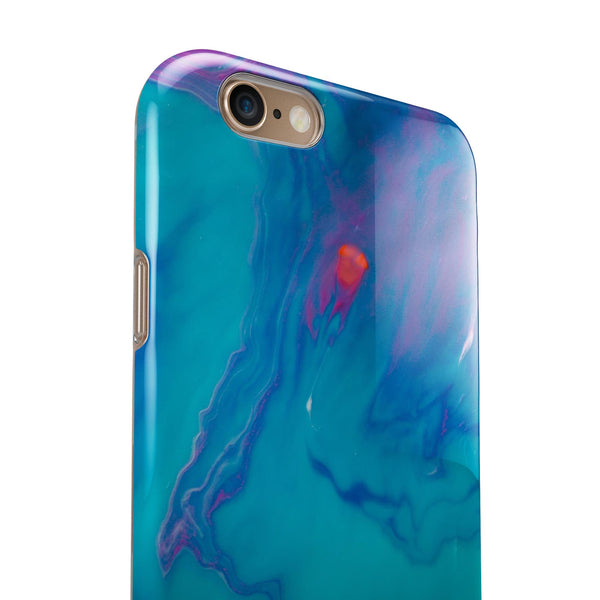 Marbleized Ocean Blue iPhone 6/6s or 6/6s Plus 2-Piece Hybrid INK-Fuzed Case