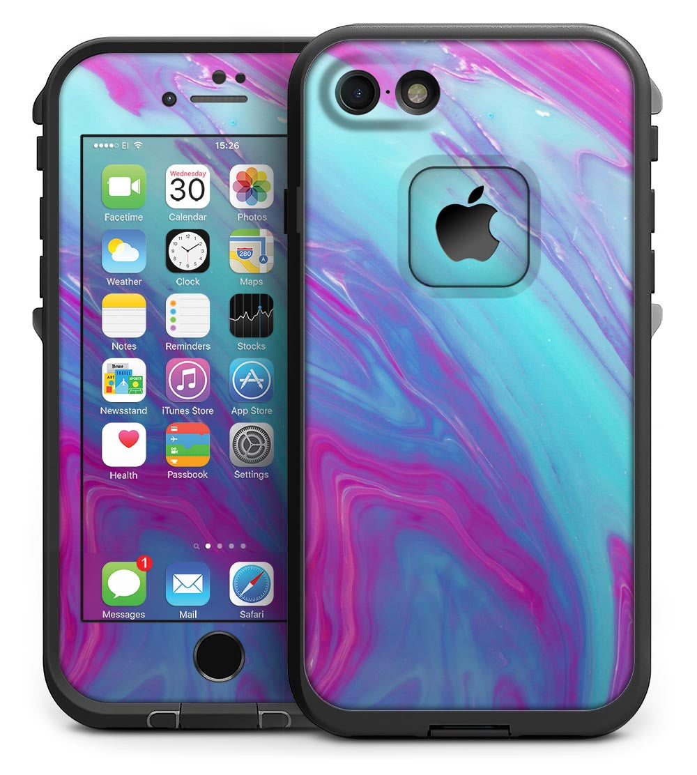 the best attitude 93973 37272 Marbleized Pink Ocean Blue v32 - iPhone 7 LifeProof Fre Case Skin Kit