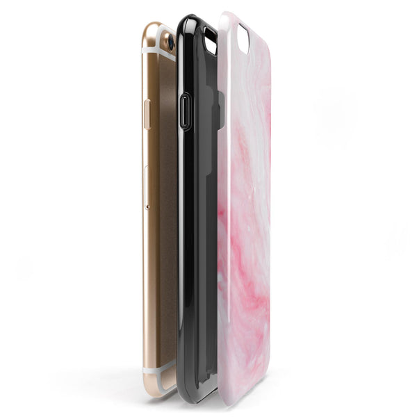 Marbleized Pink Paradise V6 iPhone 6/6s or 6/6s Plus 2-Piece Hybrid INK-Fuzed Case