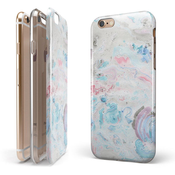 Marbleized Pink and Blue Blotch iPhone 6/6s or 6/6s Plus 2-Piece Hybrid INK-Fuzed Case