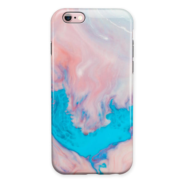 Marbleized Pink and Blue Paradise V322 iPhone 6/6s or 6/6s Plus 2-Piece Hybrid INK-Fuzed Case