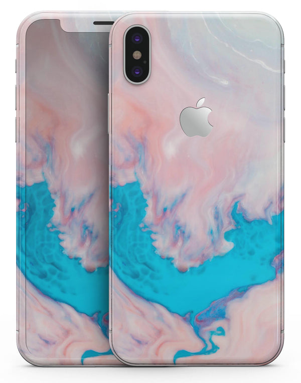 Marbleized Pink and Blue Paradise V322 - iPhone X Skin-Kit