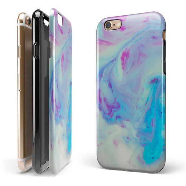 Marbleized Pink and Blue Paradise V371 iPhone 6/6s or 6/6s Plus 2-Piece Hybrid INK-Fuzed Case