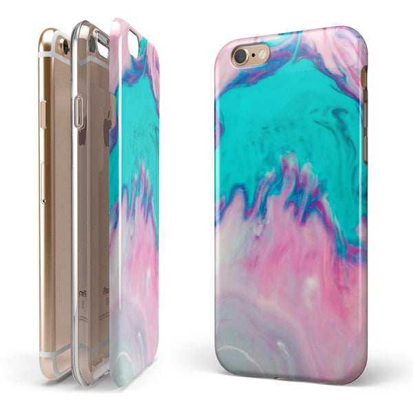 Marbleized Pink and Blue Paradise V432 iPhone 6/6s or 6/6s Plus 2-Piece Hybrid INK-Fuzed Case