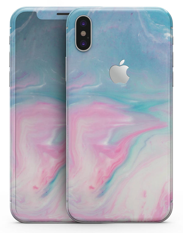 Marbleized Pink and Blue Paradise V482 - iPhone X Skin-Kit