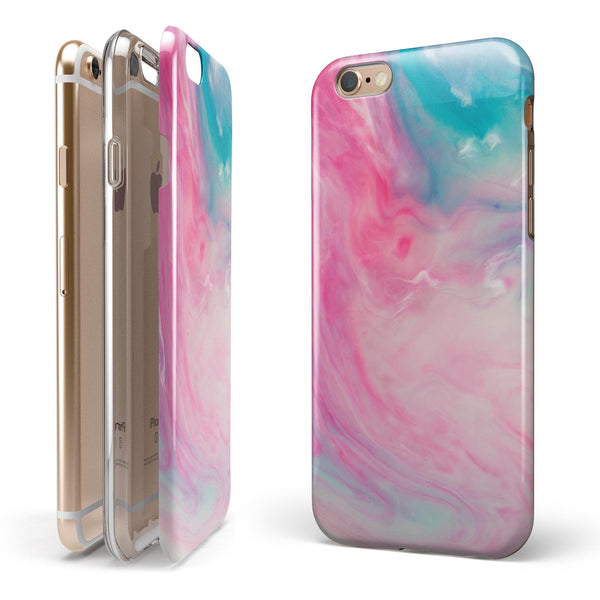 Marbleized Pink and Blue Paradise V712 iPhone 6/6s or 6/6s Plus 2-Piece Hybrid INK-Fuzed Case