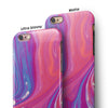 Marbleized Pink and Blue v391 iPhone 6/6s or 6/6s Plus 2-Piece Hybrid INK-Fuzed Case