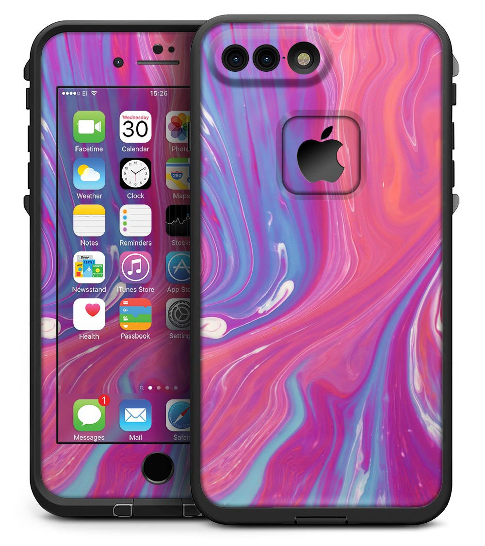 super popular 209bb e456e Marbleized Pink and Blue v391 - iPhone 7 Plus LifeProof Fre Case Skin Kit