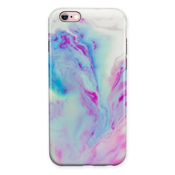 Marbleized Soft Blue V32 iPhone 6/6s or 6/6s Plus 2-Piece Hybrid INK-Fuzed Case