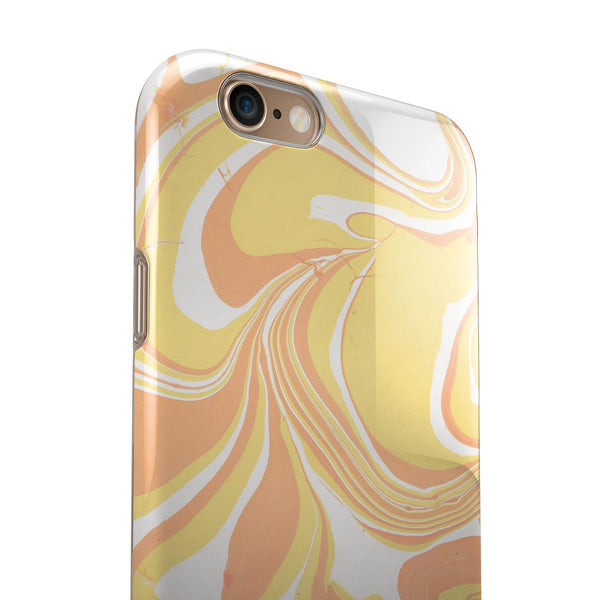 Marbleized Swirling Coral Gold iPhone 6/6s or 6/6s Plus 2-Piece Hybrid INK-Fuzed Case