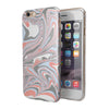 Marbleized Swirling Coral and Gray v92 iPhone 6/6s or 6/6s Plus 2-Piece Hybrid INK-Fuzed Case