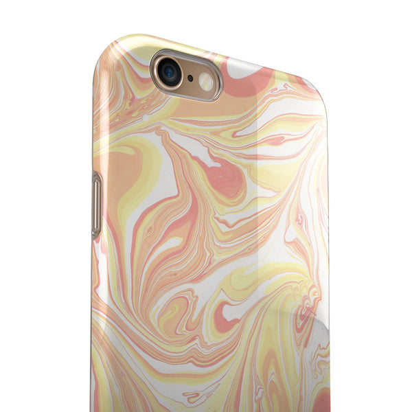 Marbleized Swirling Coral and Yellow iPhone 6/6s or 6/6s Plus 2-Piece Hybrid INK-Fuzed Case