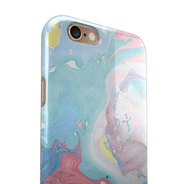 Marbleized Swirling Cotton Candy iPhone 6/6s or 6/6s Plus 2-Piece Hybrid INK-Fuzed Case
