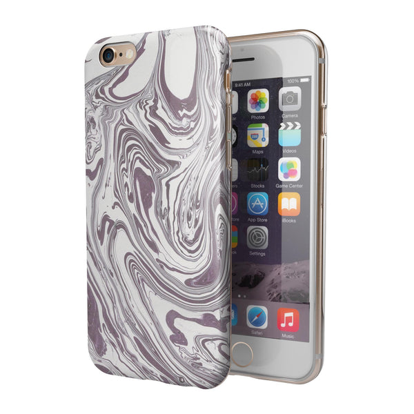 Marbleized Swirling Dark Purple iPhone 6/6s or 6/6s Plus 2-Piece Hybrid INK-Fuzed Case