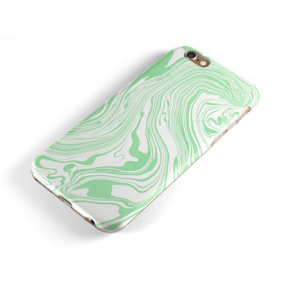 Marbleized Swirling Green iPhone 6/6s or 6/6s Plus 2-Piece Hybrid INK-Fuzed Case