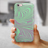 Marbleized Swirling Green and Gray v4 iPhone 6/6s or 6/6s Plus 2-Piece Hybrid INK-Fuzed Case