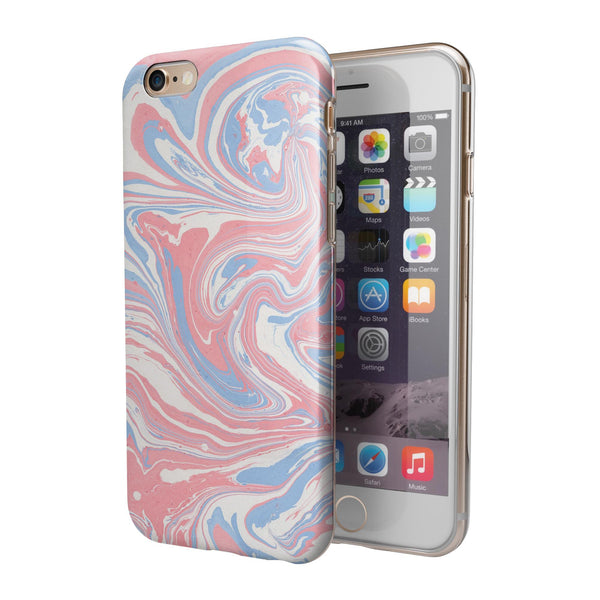 Marbleized Swirling Pink and Blue iPhone 6/6s or 6/6s Plus 2-Piece Hybrid INK-Fuzed Case