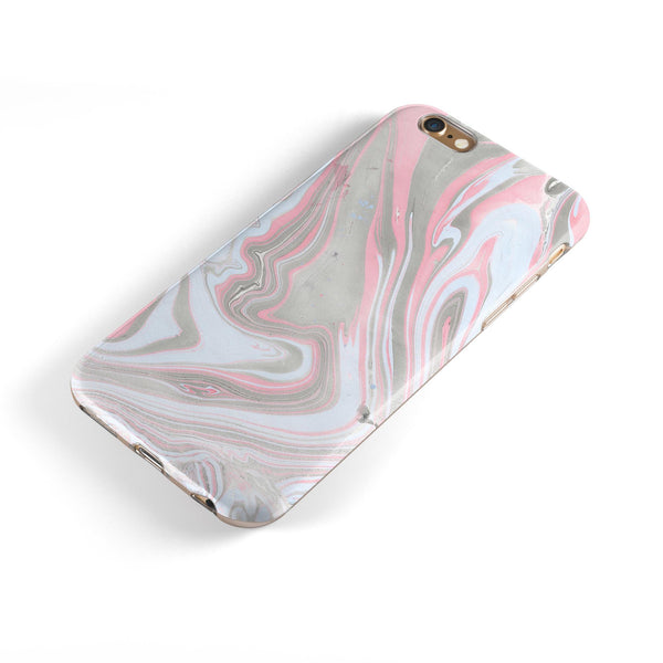 Marbleized Swirling Pink and Gray iPhone 6/6s or 6/6s Plus 2-Piece Hybrid INK-Fuzed Case
