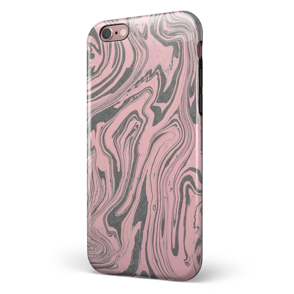 Marbleized Swirling Pink and Gray v3 iPhone 6/6s or 6/6s Plus 2-Piece Hybrid INK-Fuzed Case