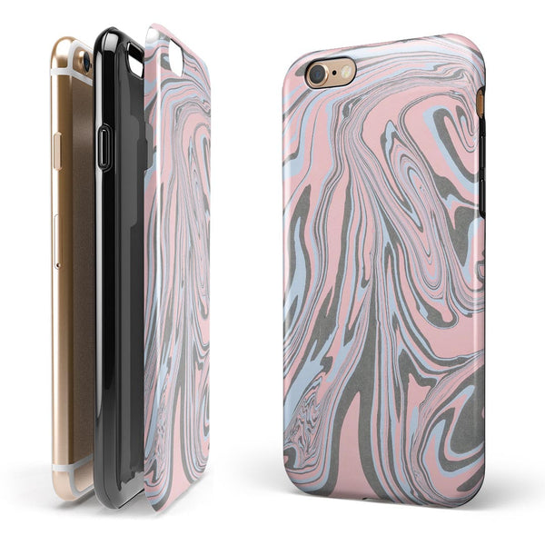 Marbleized Swirling Pink and Gray v4 iPhone 6/6s or 6/6s Plus 2-Piece Hybrid INK-Fuzed Case