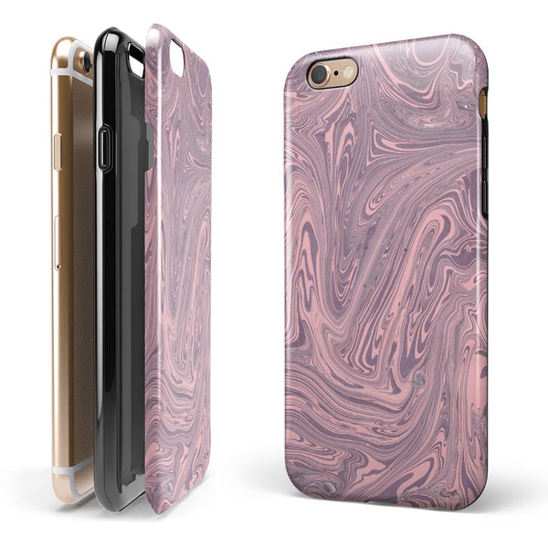 Marbleized Swirling Pink and Purple iPhone 6/6s or 6/6s Plus 2-Piece Hybrid INK-Fuzed Case