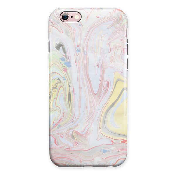 Marbleized Swirling Pink and Yellow v3 iPhone 6/6s or 6/6s Plus 2-Piece Hybrid INK-Fuzed Case