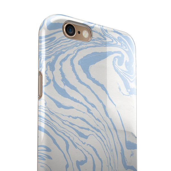 Marbleized Swirling Soft Blue iPhone 6/6s or 6/6s Plus 2-Piece Hybrid INK-Fuzed Case