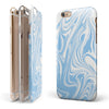 Marbleized Swirling Soft Blue v91 iPhone 6/6s or 6/6s Plus 2-Piece Hybrid INK-Fuzed Case