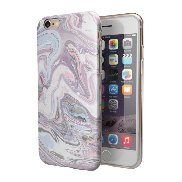 Marbleized Swirling Soft Purple iPhone 6/6s or 6/6s Plus 2-Piece Hybrid INK-Fuzed Case