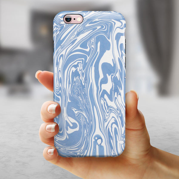 Marbleized Swirling Subtle Blue iPhone 6/6s or 6/6s Plus 2-Piece Hybrid INK-Fuzed Case