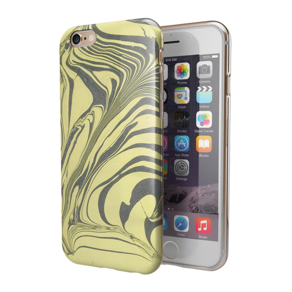 Marbleized Swirling Yellow and Gray iPhone 6/6s or 6/6s Plus 2-Piece Hybrid INK-Fuzed Case