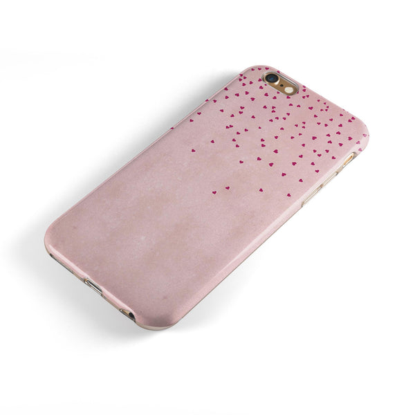 Mauve Hearts Over Pale Pink Watercolor  iPhone 6/6s or 6/6s Plus 2-Piece Hybrid INK-Fuzed Case