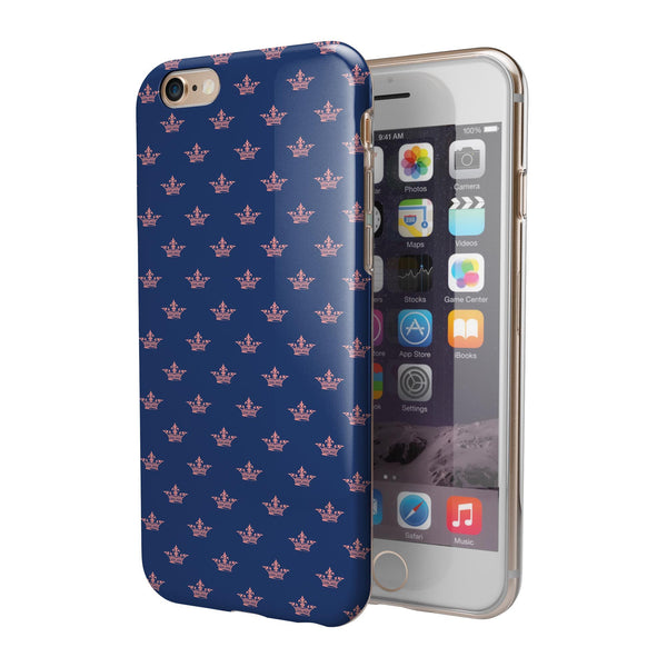 Micro Coral Crowns Over Navy iPhone 6/6s or 6/6s Plus 2-Piece Hybrid INK-Fuzed Case