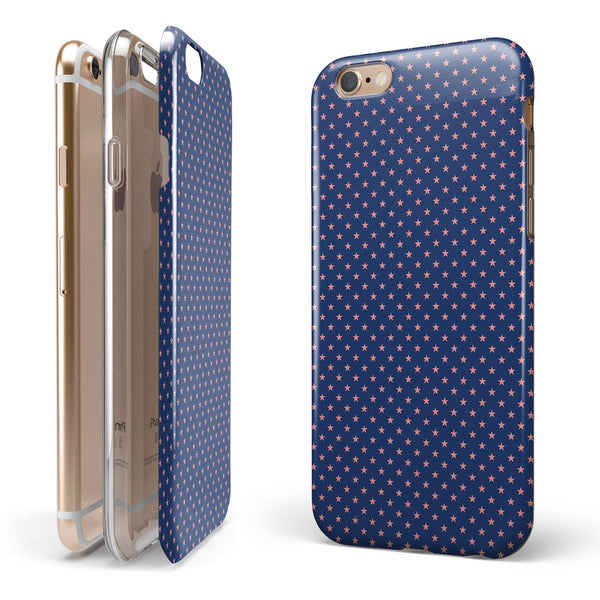 Micro Coral Stars Over Navy Pattern iPhone 6/6s or 6/6s Plus 2-Piece Hybrid INK-Fuzed Case