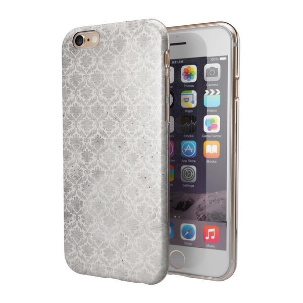 Micro Faded Black and White Damask Pattern iPhone 6/6s or 6/6s Plus 2-Piece Hybrid INK-Fuzed Case