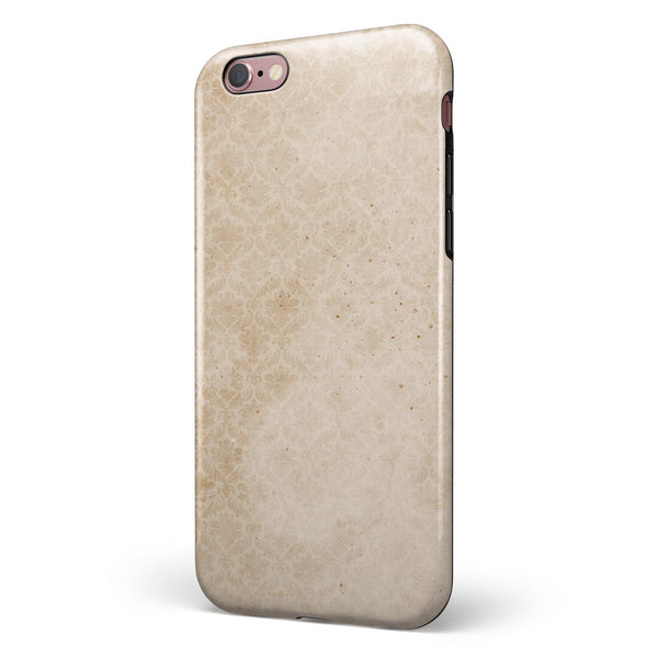 Micro Faded Tan Damask Pattern iPhone 6/6s or 6/6s Plus 2-Piece Hybrid INK-Fuzed Case