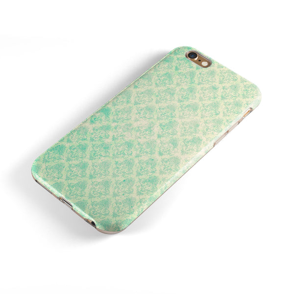 Micro Faded Teal Rococo Pattern iPhone 6/6s or 6/6s Plus 2-Piece Hybrid INK-Fuzed Case