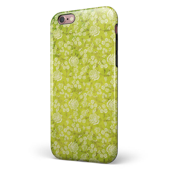 Micro Green Rose Pattern iPhone 6/6s or 6/6s Plus 2-Piece Hybrid INK-Fuzed Case