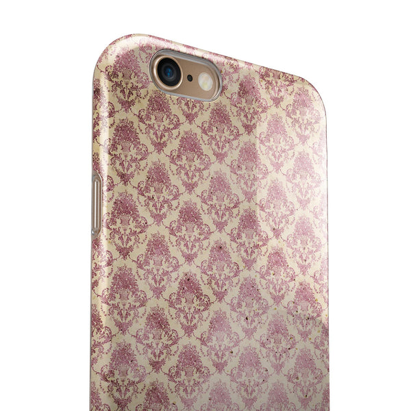 Micro Maroon and Faded Yellow Rococo Pattern iPhone 6/6s or 6/6s Plus 2-Piece Hybrid INK-Fuzed Case