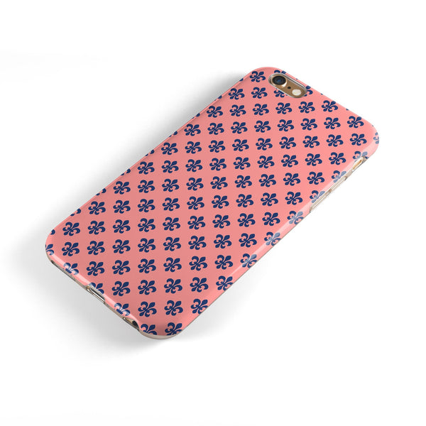 Micro Navy Crowns Over Coral iPhone 6/6s or 6/6s Plus 2-Piece Hybrid INK-Fuzed Case