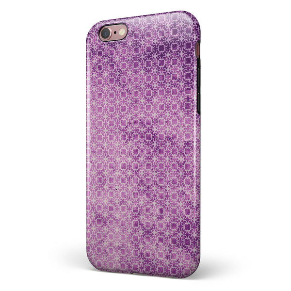 Micro Squares of Violet Grunge iPhone 6/6s or 6/6s Plus 2-Piece Hybrid INK-Fuzed Case