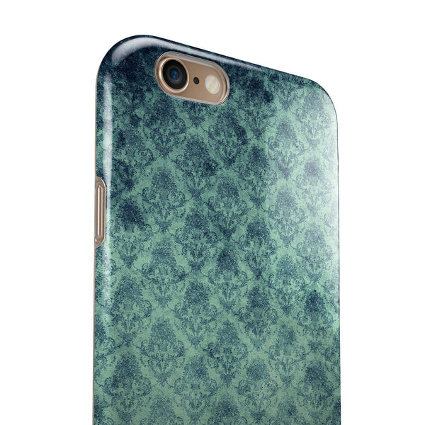 Micro Vintage Navy Rococo Pattern iPhone 6/6s or 6/6s Plus 2-Piece Hybrid INK-Fuzed Case
