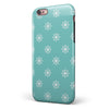 Micro White Ship Wheels Over Teal iPhone 6/6s or 6/6s Plus 2-Piece Hybrid INK-Fuzed Case