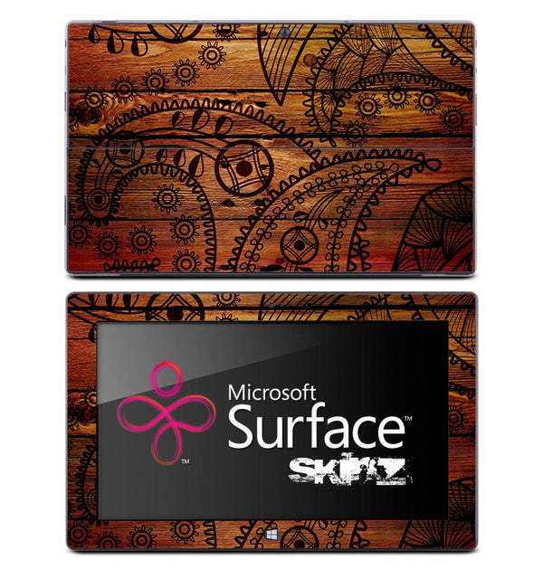 Dark Branded Wood Skin for the Microsoft Surface