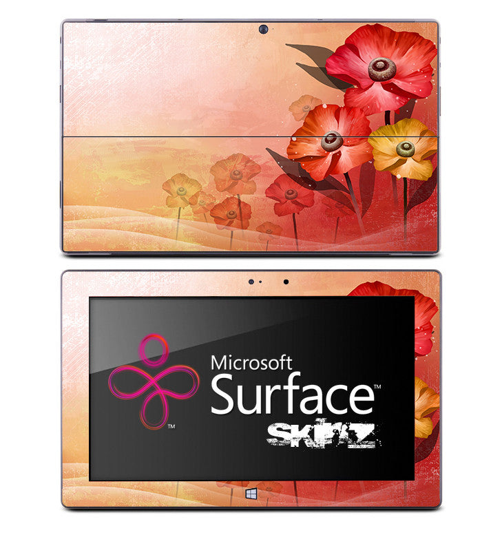 Peach Tropical Flowers Skin for the Microsoft Surface
